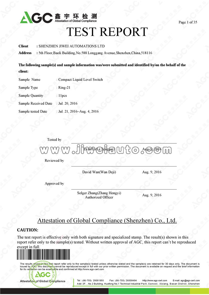 Test Report of Ring-21 Compact Liquid Level Switch
